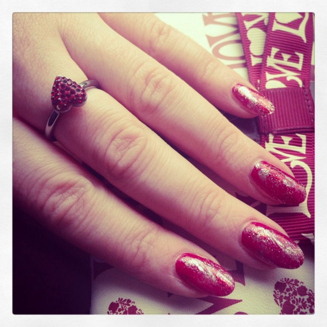 Red and gold nails with a cute love heart Swarovski ring