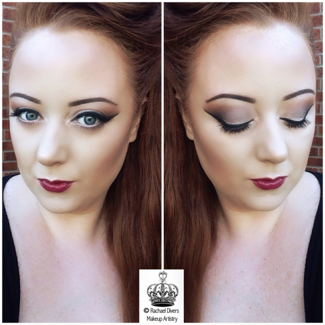 Pin up style Autumn makeup with berry lips
